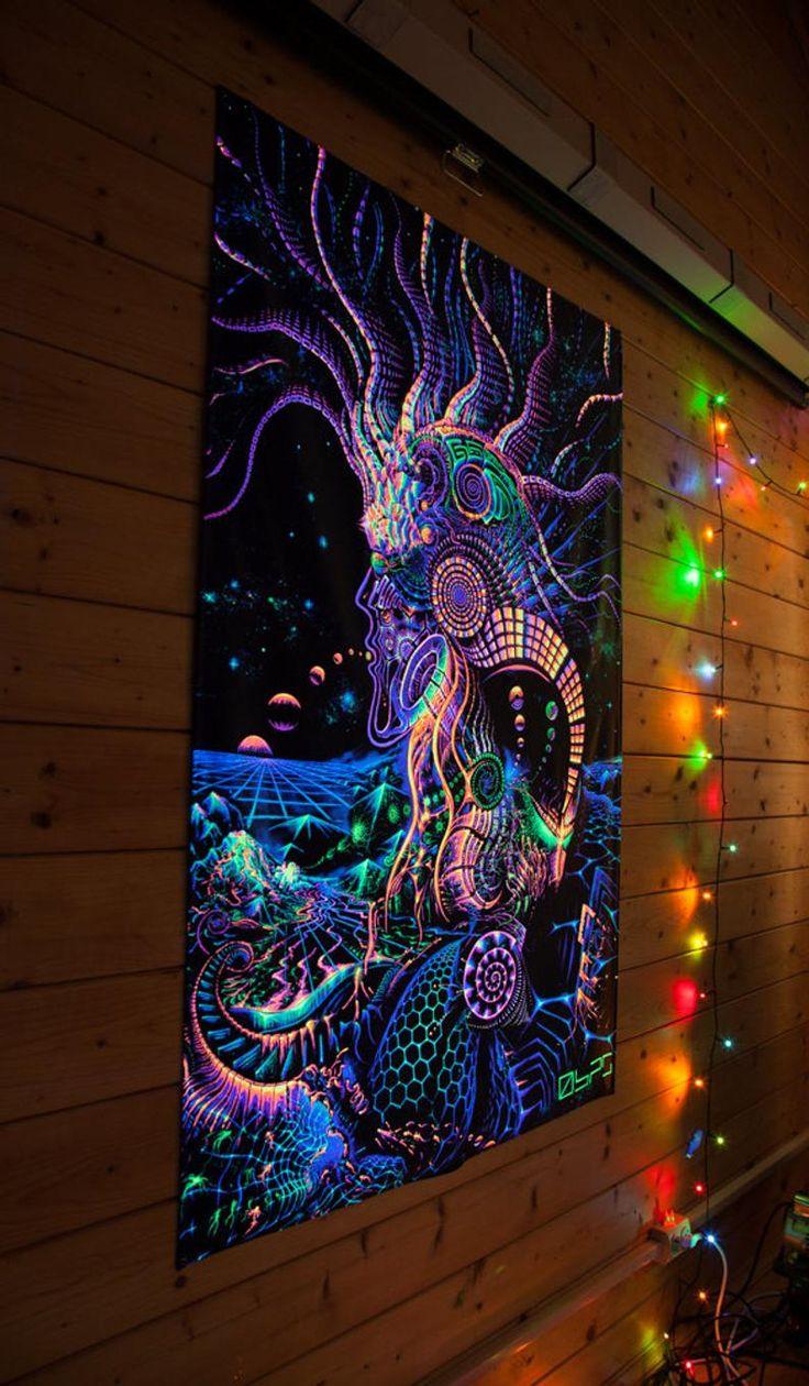 FLUORO-RUNNER tapestry blackligt active fluorescent glow ...