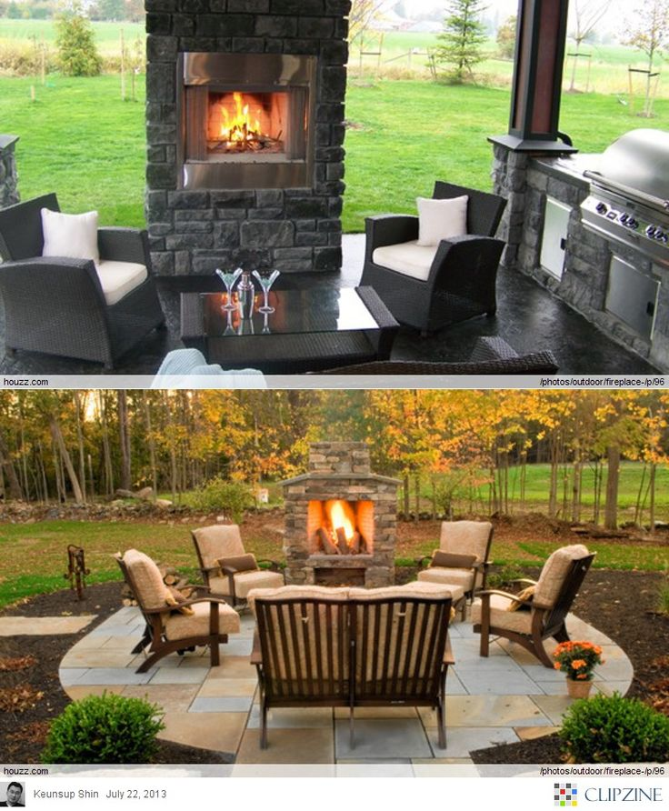Glowing Outdoor Fireplace Ideas: Outdoor Fireplace Ideas- **bottom One, Smaller Size