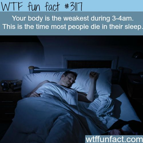 The hour most people die in their sleep -WTF fun facts: Its also theorized this is when ghost are most active