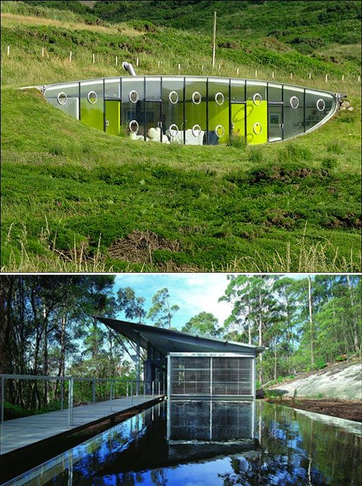 Top: Future Systems, House in Wales, Pembrokeshire, Wales, 1996. Bottom: Glenn Murcutt, Simpson Lee House, Mt. Wilson, New South Wales, 1994. [courtesy of Anthony Browell]