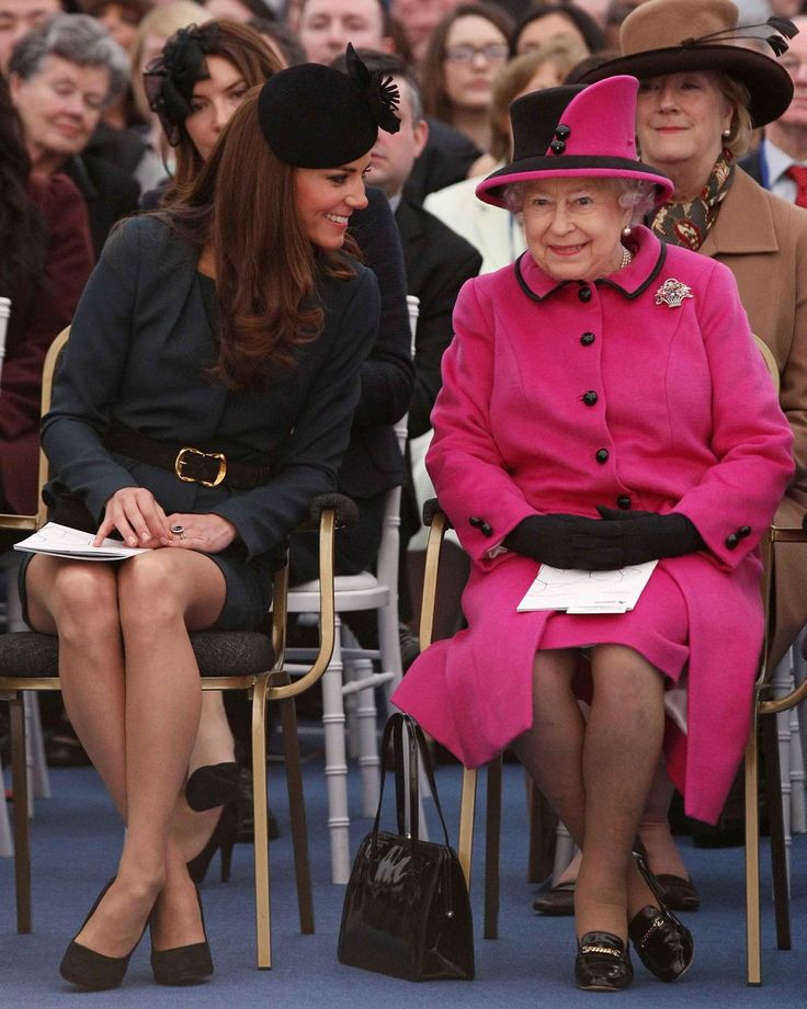 2012 Queen Elizabeth and Duchess Catherine watch a fashion show at De Montfort University.