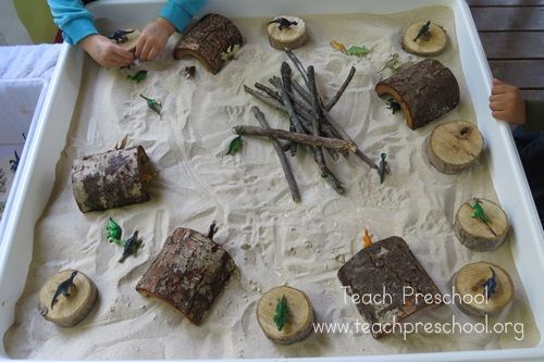"""Dinosaur play in the sand table with logs, sticks, sand, dinosaurs & brushes... from Teach Preschool ("""",)"""