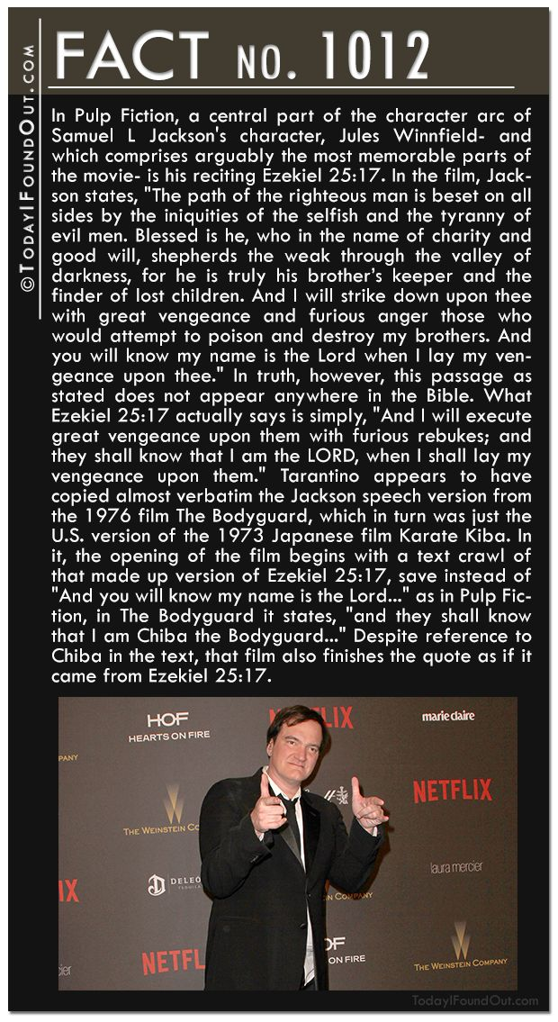 biblical references in pulp fiction essay Pulp fiction (1994 ) trivia on imdb the passage from the bible that jules has memorized was it's likely that tarantino included it as a reference to the shin.