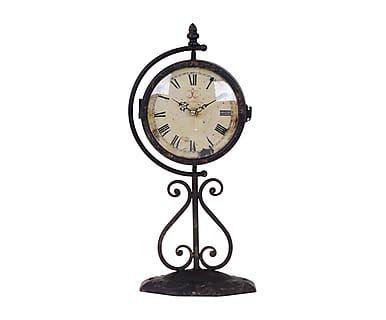 Ретро-часы настольные - патинированный металл - черный, 42х15х15 см