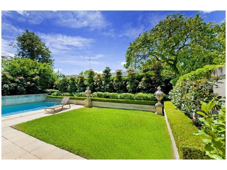 classic & elegant garden, hedged, swimming pool landscape - homehound.com.au
