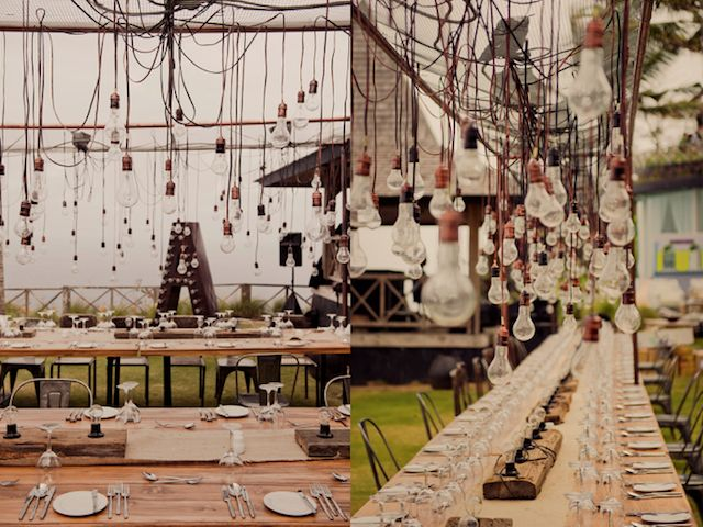 lightbulbs and tolix chairs for an industrial wedding vibe