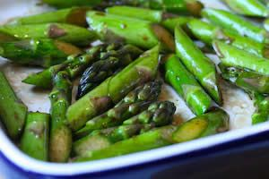1 pound asparagus, ends trimmed, then cut on diagonal 2 T extra virgin olive oil (or less) 1 T best quality balsamic vinegar (or less) sa...