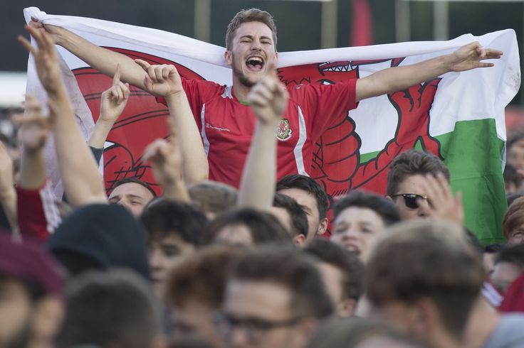 Wales fans celebrate a Wales goal at the Wales Fan Zone in Cooper's Field, Cardiff, for the Russia v Wales Euro 2016 Group B game. (Photo by Matthew Horwood / matt-horwood.com)