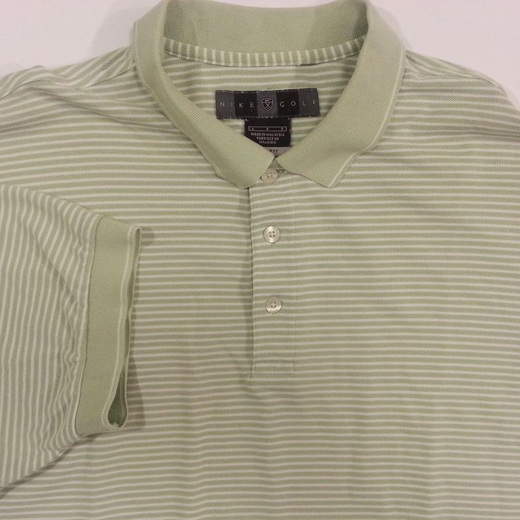 Nike Golf Polo Shirt Mens Large Dri Fit Green White Stripes Cotton Blend #NikeGolf #PoloRugby #ArtieBobs #MensFashion