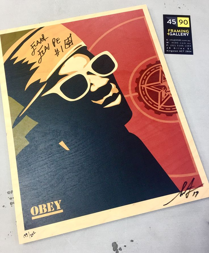 Print on wood by Shepard Fairey signed by Flavor Flav