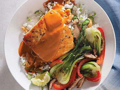 An intense curry sauce is draped over our Coconut Curry Halibut which we bed over rice. Round out Coconut Curry Halibut with a pile of stir-fried veggies. Pacific halibut (often labeled Alaskan halibut) is a good choice for sustainability. Less-expensive options include most U.S.-farmed tilapia and Atlantic/Icelandic cod.