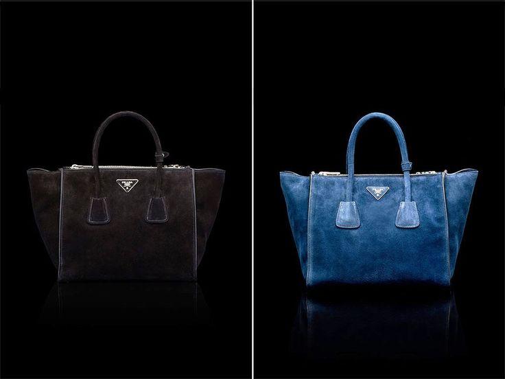Prada Black and Ultramarine Blue Suede Twin Pocket Tote Bag ...