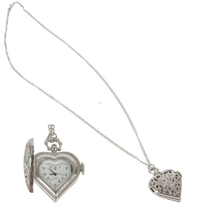Horloge ketting, hartvormig met 'old look' wijzerplaat - 46 cm
