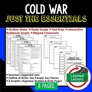 Cold War Outline Notes JUST THE ESSENTIALS Unit Review, Study Guide, Test Prep American History Outline Notes, American History Test Prep, American History Test Review, American History Study Guide, American History Summer School, American History Unit Reviews, American History Interactive Notebook Inserts