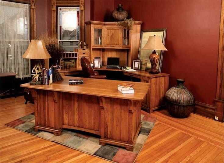 Amish Bentley Office Deluxe Executive Desk with Corner Work Station.  Computer DesksOffice DesksWood ...