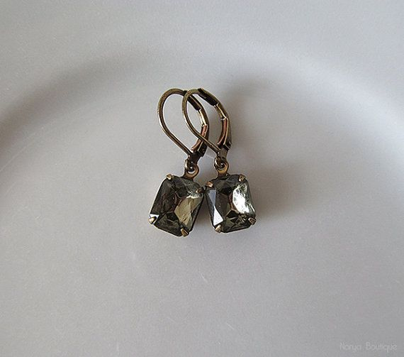 Grey Rhinestone Earrings  Elegant Vintage Glass Jewel Dangle