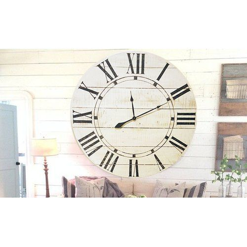 brandtworks vintage farm to home oversized wall clock white
