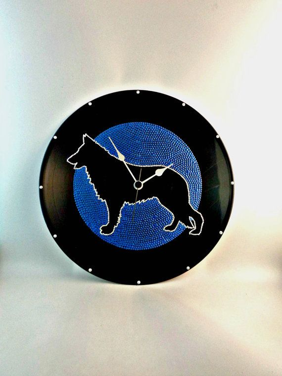 German Shepherd Dog Silhouette Vinyl Clock by InsaneDotting