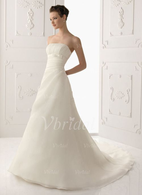 Wedding Dresses - $205.09 - A-Line/Princess Strapless Court Train Organza Satin Wedding Dress With Ruffle Beading (00205001914)