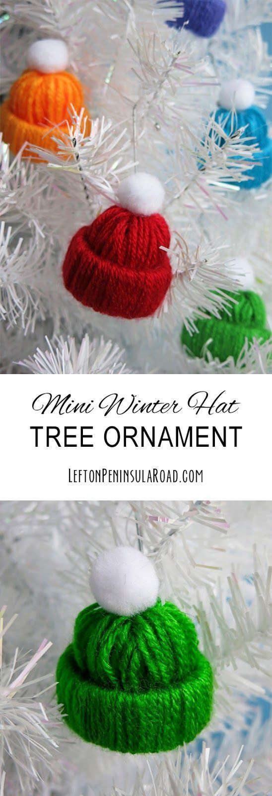 Miniature Winter Hats make adorable decorations, package toppers, or Christmas ornaments.