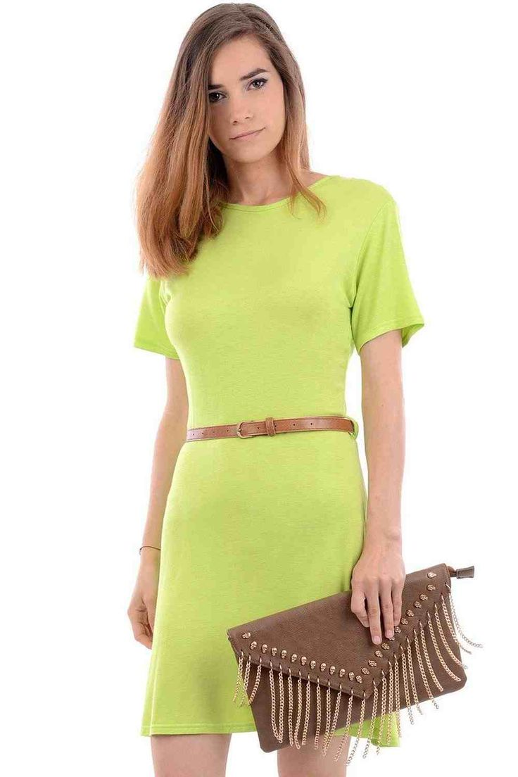 Casual Belted Skater Dress.   Look cool and casual in this belted skater dress,   available in coral and green. Key details include a short sleeve design,   round neck, competed with a belt.   Wear with ballet pumps or hi-tops to get your ultimate casual look.  £14.99
