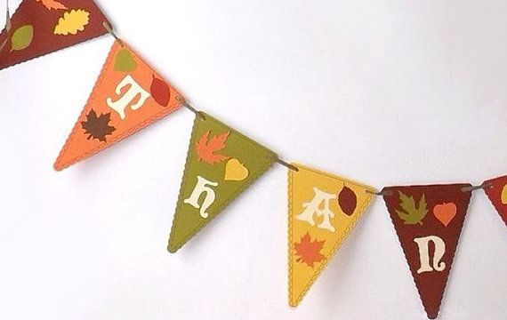 Thanksgiving Banner Thankful Pennant Flags by AlteredEcoDesigns