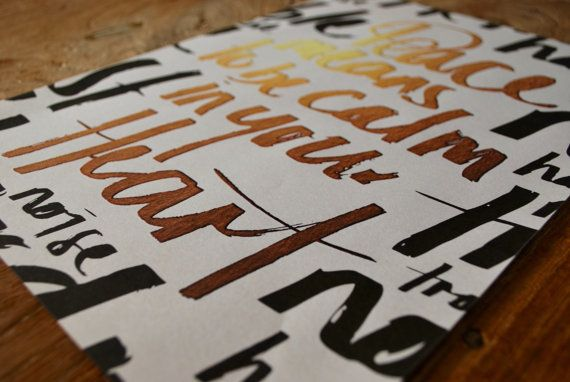 Typography Poster  Peace by MakeryNZ on Etsy