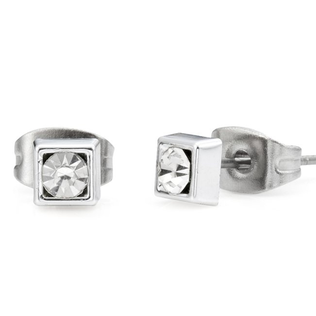 Mouse Over Image To Zoom Mens Clic And Fancy Silver Stainless Steel Stud Earrings With Cz Stone