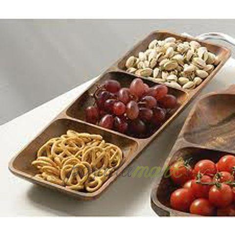 Блюдо Monkey Pod прямоугольное 3 отделения 40 см дерево коричневый серия Столовая посуда Premier 1104607 с доставкой - Posudamart.Ru
