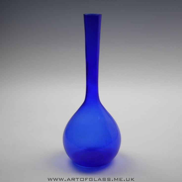"Swedish 13"" tall cobalt blue glass bottle vase"