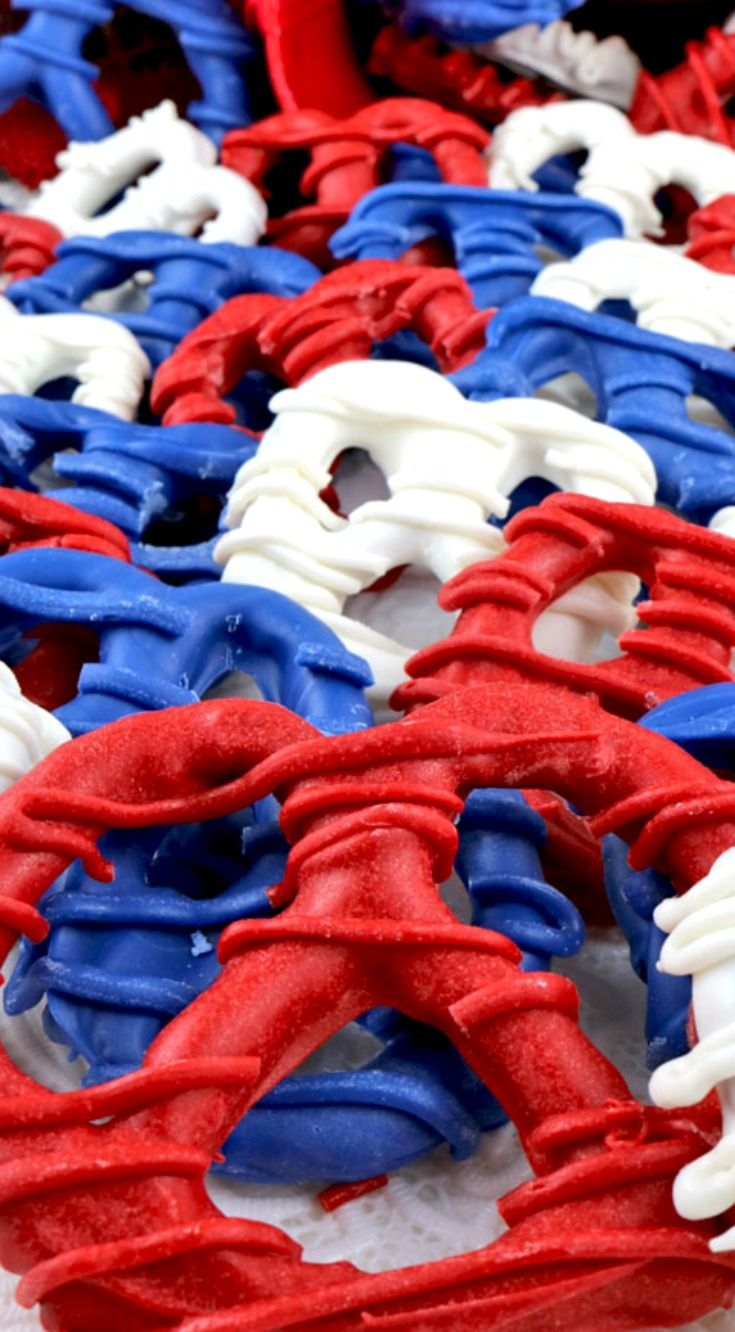Patriotic Pretzels ~ Can do just red and white for Canada Day.  Sweet, salty and crunchy... Covered in red, white (and blue) candy, this easy to make treat will really stand out at your party.