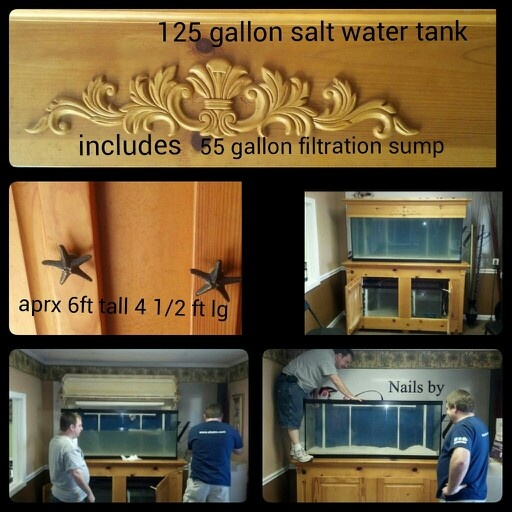 Tan oak 180 gallon salt or fresh water tank. 125 gallons of living space and a 55 gallon custom made filtration sump underneath that mimics the oceanic environment that your beautiful marine life is used to. It has built in lighting and a beautiful canopy thats perfect for  beautiful plants or candles on top. Its a wonderful conversational piece  for any office or home.  Asking $750 (obo) call Yvette at 269-3591, for the best selection & pricing for salt water fish or getting the aquarium or…