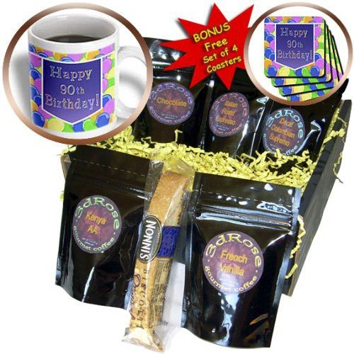 Beverly Turner Birthday Design - Balloons with Purple Banner Happy 90th Birthday - Coffee Gift Baskets - Coffee Gift Basket (cgb_173072_1)