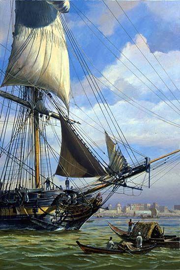 """HMS Surprise Off Calcutta""  A scene from HMS Surprise (cover image)"