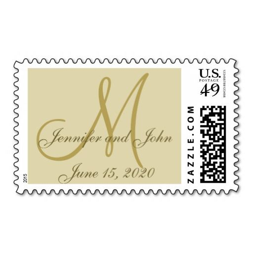 Golden Monogram Wedding Save the Date On Parchment