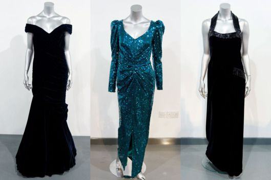 3/19/2013-Victor Edelstein midnight-blue velvet evening gown, State dinner at the White House in 1985, a Catherine Walker green sequined evening gown, State visit to Austria in 1989, and a Catherine Walker black velvet evening gown, worn for the Vanity Fair photo shoot by Mario Testino in 1997.. See All 10 Princess Diana Dresses Up for Sale -- The Cut