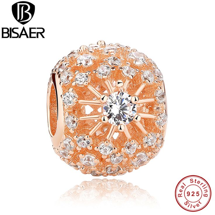 925 Sterling Silver INNER RADIANCE Rose Gold & CLEAR CZ Sunburst Pattern Charm Fit Pandora Bracelet gold Jewelry Making HJS177