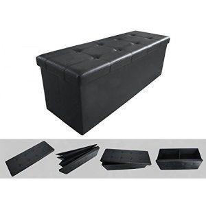 Pouf coffre de rangement pliable noir 110x38x38cm – Tabouret simili cuir élégant et confortable