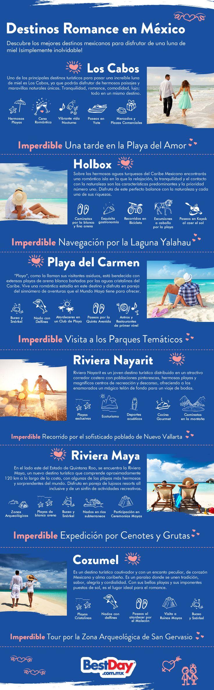 Algunos destinos de México resultan perfectos para disfrutar de una escapada romántica, por ello te compartimos esta infografía con las mejores alternativas para que vivas tu romance al mejor estilo mexicano. Prepárate para disfrutar de atardeceres únicos, para reconfortarte en lujosos hoteles, así como para vivir las más divertidas aventuras en compañía de esa persona especial para ti. ¡Vive una maravillosa experiencia en las mejores playas mexicanas! #OjalaEstuvierasAqui #BestDay