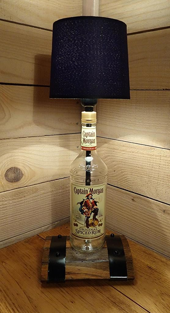 Mancave Lighting Lamp Made Using A Captain Morgan Bottle
