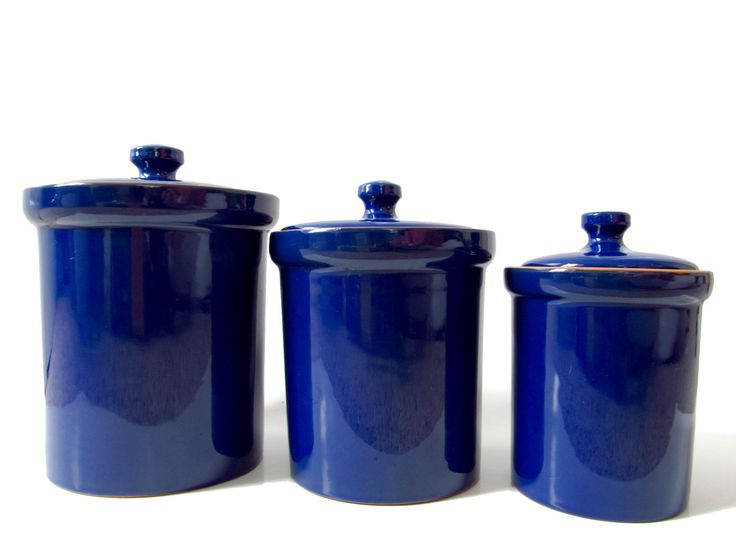 Cobalt blue ceramic canister set made in italy italian kitchen accessory royal navy blue kitchen - Blue glass kitchen canisters ...