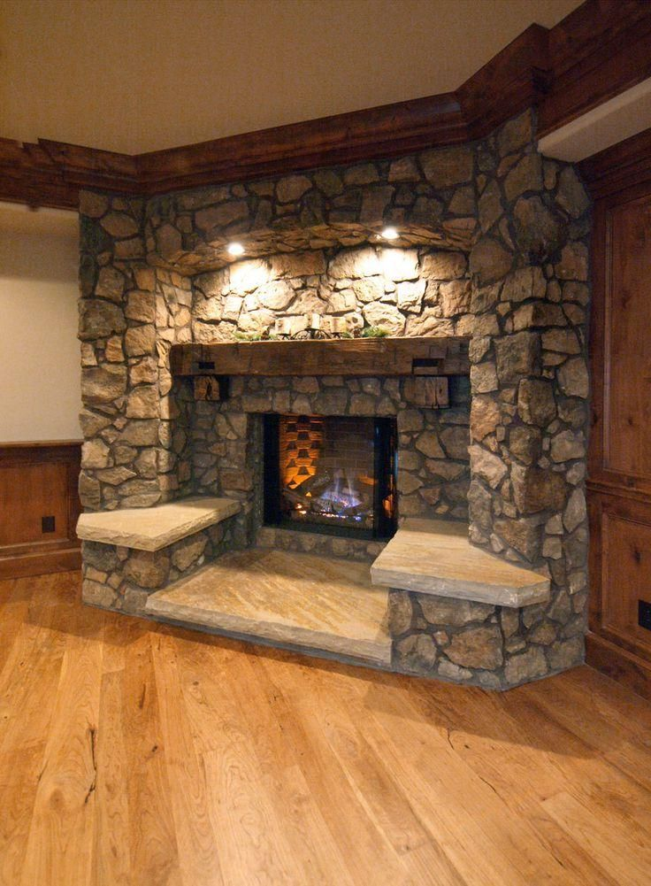 38 best fireplaces images on pinterest fire places for Rustic rock fireplace designs