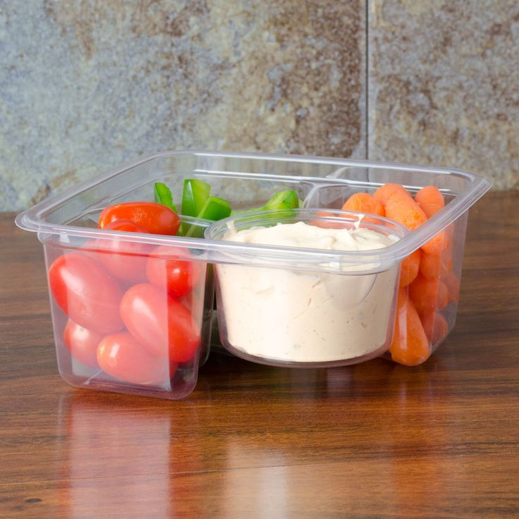 Fabri-Kal Greenware GS6-3W 3-Compartment Clear PLA Compostable Container - 50/Pack
