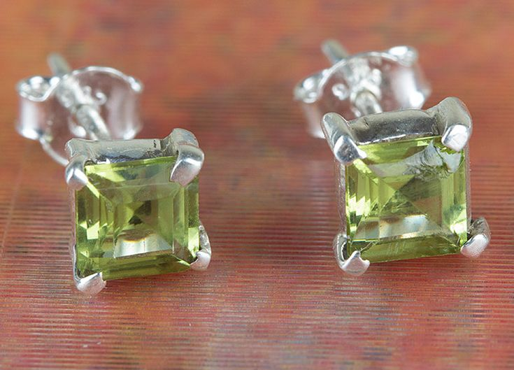 Peridot Jewellery – Sterling Silver Faceted Peridot Stud BJS-128-PRC – a unique…
