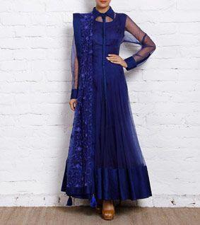 Blue Net Anarkali Suit