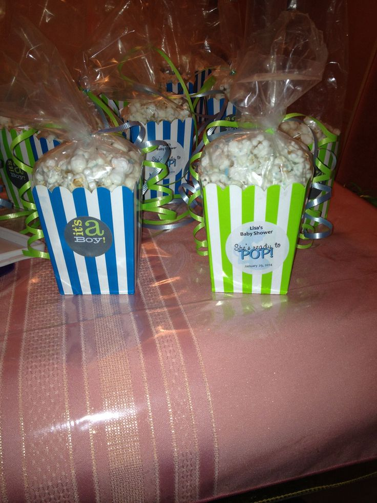 boy baby shower favors i made them popcorn boxes and stickers from