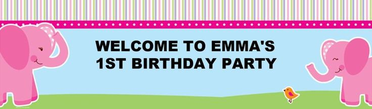 Pink Elephants Personalized Banner
