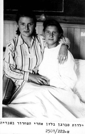 Sweden, Girls who survived Bergen Belsen, after the liberation.
