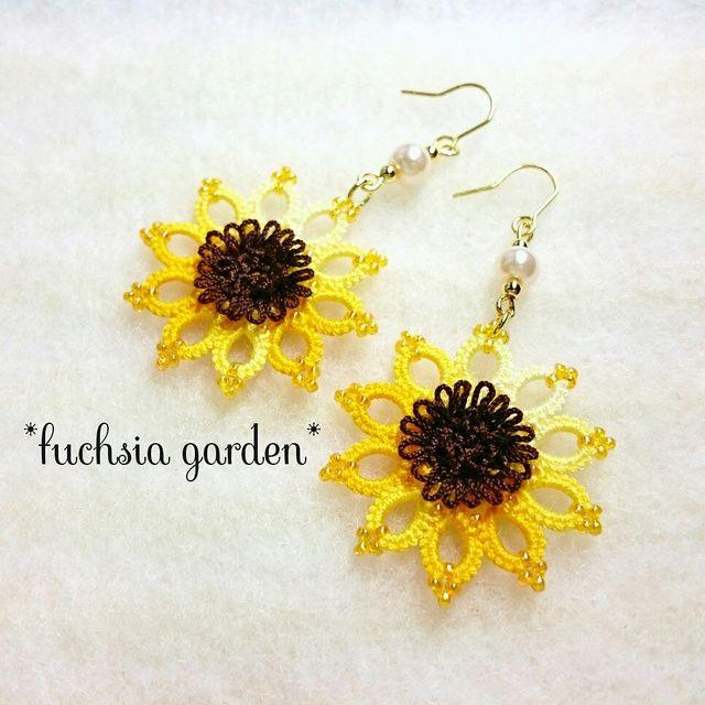 <Resale 6> Tatting sunflower earrings