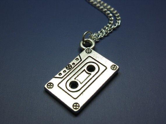 Cassette tape Necklace  mix tape retro jewelry 80s 90s by Szeya, $12.00
